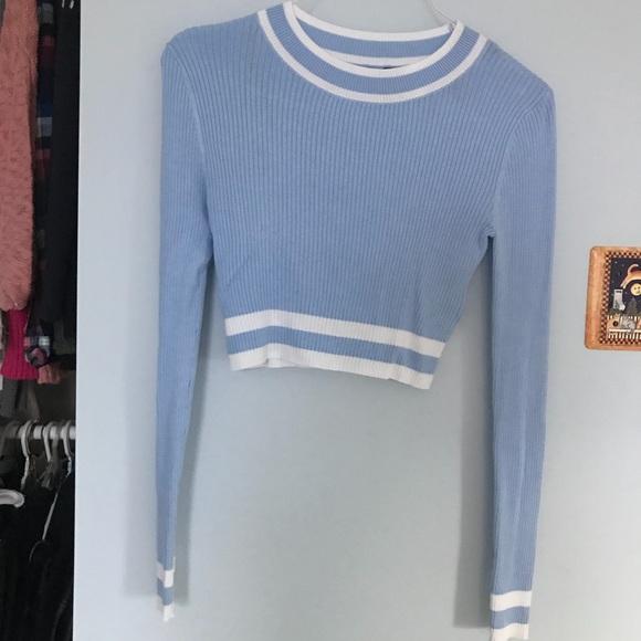 Hm Sweaters Cropped Light Blue Sweater Poshmark
